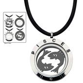 Reversible 4-Way Black IP & Steel Pisces Zodiac Pendant
