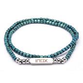 Tiny Blue Hematite Cube and Steel Beads Bracelet