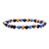 Stainless Steel and 6mm Blue Coral, Tiger Eye, Matte Black Agate Beads in Elastic Band Bracelet