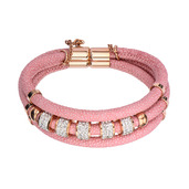 Pink Leather with Rose Gold IP Charm Bracelet