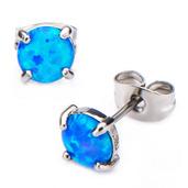 Claw Set Blue Synthetic Opal Stud Earrings