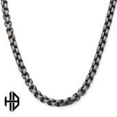 Hollis Bahringer Men's Gun Metal Polished Bold Box Chain Necklace