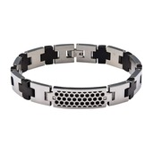 Steel Honey Comb Pattern ID with 2 pc Clear Genuine Diamond and Black IP Cross Link Bracelet