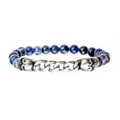 Stainless Steel Skull and Chain with 8mm Blue Beads in Elastic Band Bracelet