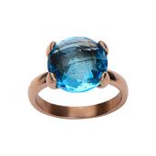 Rose Gold IP with Blue Gem Ring