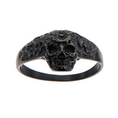 Black IP Skull with Flowers Ring