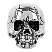 Steel Skull Ring with Smooth Cracks