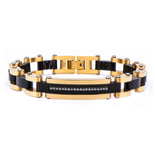 Solid Carbon Graphite and Gold IP with Clear CZ Stone ID Link Bracelet