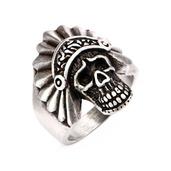 Stainless Steel Brushed Gunmetal Finish Apache Skull Ring