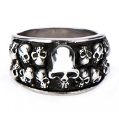 Antique and Polished Finish Casted Graveyard Multi-Skull Ring