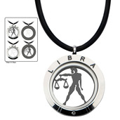 Reversible 4-Way Black IP & Steel Libra Zodiac Pendant
