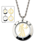 Reversible 4-Way Gold IP & Steel Virgo Zodiac Pendant