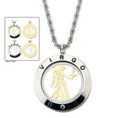 Reversible 4-Way Gold IP & Steel Virgo Zodiac Pendant