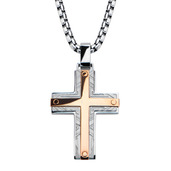 Hollis Bahringer Rose Gold IP Bar Accent with Labyrintine Cross Pendant with Chain