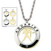 Reversible 4-Way Gold IP & Steel Aquarius Zodiac Pendant