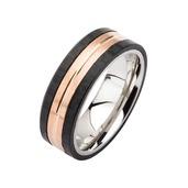 Rose Gold, Carbon Fiber & Steel Ring