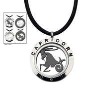 Reversible 4-Way Black IP & Steel Capricorn Zodiac Pendant
