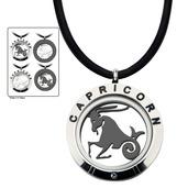 Reversible 4-Way Black IP & Steel Capricorn Zodiac Pendant