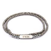 Tiny Grey Hematite Cube and Steel Beads Bracelet