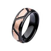 Rose Gold IP & Black IP Patterned Design Polished Ring