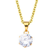 Gold IP and Clear CZ Solitaire Pendant with Chain