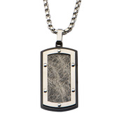 Textured Black IP Dog Tag Pendant with 24 inch Chain