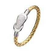 Gold Italian Leather Bracelet