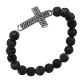 Black Lava Beads and Steel Cross Bracelet