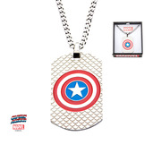 Stainless Steel Captain America Logo Dog Tag Pendant with Chain