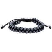 Leather Cord with Grey Hematite Steel Beads Bracelet