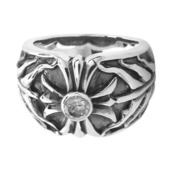 Center Clear CZ Iron Cross Ring