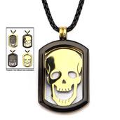 4-Way Black & Gold IP Skull Dog Tag Pendant