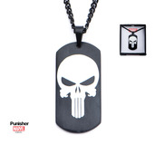 Black PVD Plated Punisher Skull Logo Dog Tag Pendant with Chain