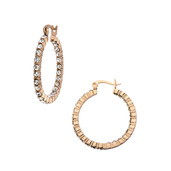 In and Out Crystal IP Rose Gold Matte Hoop Earrings