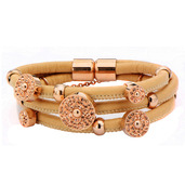 Multi Braided Apricot Leather Charmed Bracelet
