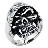 Black Oxidized Skull Hood Ring