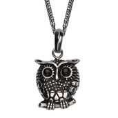 Women's Black Oxidized Owl Pendant with Chain