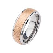 Steel & Rose Gold IP Patterned Design Ring