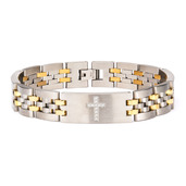 Stainless Steel Two Tone with Clear CZ Stone Cross in Steel ID Panther Link Bracelet