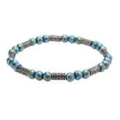 Blue Hematite with Antique Steel Beads Bracelet