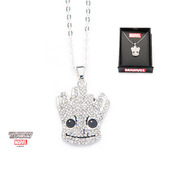 Marvel Guardians of the Galaxy Base Metal Silver Plated Groot Pendant with Chain