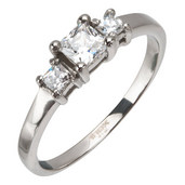 Engagement Steel Ring with Diamond Cut CZs