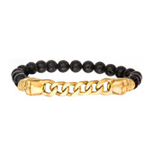 Gold IP Skull and Chain with 8mm Black Lava Beads in Elastic Band Bracelet