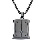 Hollis Bahringer Men's Black IP with Black-A 2.5 diamond Cuff Links