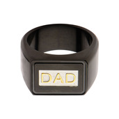 Black IP & Steel with Gold IP DAD Engraved Ring