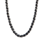 Steel and Black IP Wheat Chain Necklace