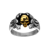 Steel Wings and Gold IP Skull Ring