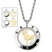 Reversible 4-Way Gold IP & Steel Aries Zodiac Pendant