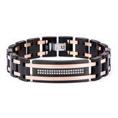 Black IP and Rose Gold IP with Clear CZ Stone ID Link Bracelet