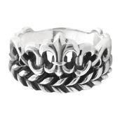 Silver Fleur De Lis and Leaf Patterned Ring